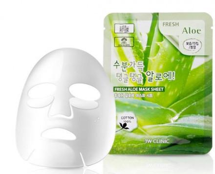 Тканевая маска для лица с экстрактом алоэ 3W CLINIC Fresh Aloe Mask Sheet: фото