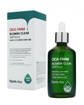 Эссенция ампульная высокоактивная с центеллой азиатской против несовершенств кожи FarmStay CICA FARM BLEMISH CLEAR AMPOULE 100мл: фото