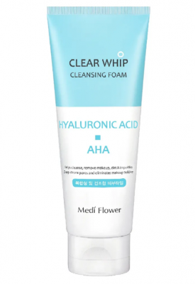 Пенка для умывания с гиалуроновой кислотой и AHA кислотами MediFlower Hyaluronic cleansing 120мл: фото