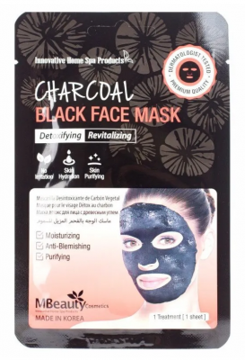 Маска-детокс для лица тканевая с древесным углем MBeauty Charcoal black face mask 23мл: фото