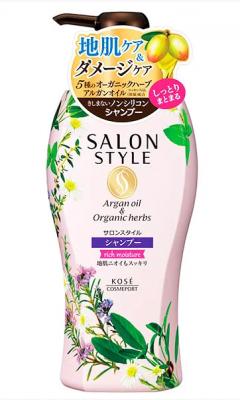 Шампунь для волос увлажняющий с ароматом цветов и трав Kose Salon style rich moisture 500мл: фото