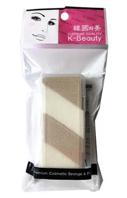 Спонж косметический двухцветный в кейсе 4 сегмента K-Beauty Premium Cosmetic Sponge NR-14: фото