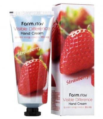Крем для рук с экстрактом клубники FarmStay Visible difference hand cream strawberry 100г: фото